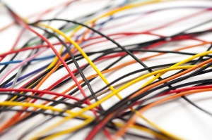 Tangle of colorful electric wires and cables